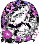 1girl absurdres acrylic_paint_(medium) bangs black_footwear black_headwear black_skirt black_sky boots breasts bridge detached_sleeves eyebrows_visible_through_hair flower hair_between_eyes hand_fan hand_up hat hat_ribbon highres holding japanese_clothes kariginu leaf long_hair long_sleeves looking_to_the_side medium_breasts mononobe_no_futo night night_sky pom_pom_(clothes) ponytail purple_flower ribbon shirt sitting skirt sky solo torajirou_(toraneko_zirou) touhou traditional_media violet_eyes white_background white_flower white_hair white_ribbon white_shirt white_sleeves wide_sleeves