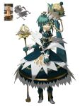1girl absurdres aqua_dress aqua_eyes aqua_gloves aqua_hair bangs blonde_hair boots cape capelet chess_piece chessboard commentary crown dress elbow_gloves english_commentary eyebrows_visible_through_hair full_body gloves gold_trim grey_hair hair_between_eyes hatsune_miku highres light_frown long_hair looking_at_viewer multicolored multicolored_clothes multicolored_dress multicolored_eyes multicolored_footwear multicolored_hair queen_(chess) reference_photo_inset short_hair sidelocks simple_background staff swept_bangs topdylan triangle_mouth twintails upper_teeth very_long_hair vocaloid walking white_background white_dress white_eyes white_footwear yellow_eyes yellow_footwear