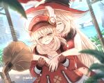 2girls ahoge alice_(genshin_impact) backpack bag bag_charm bangs blue_sky blurry brown_eyes brown_gloves brown_scarf cabbie_hat charm_(object) cliff clover_print coat commentary_request depth_of_field dodoco_(genshin_impact) eyebrows_visible_through_hair genshin_impact gloves hair_between_eyes hat hat_feather hat_ornament highres holding_hands horizon hug hug_from_behind island klee_(genshin_impact) light_brown_hair long_hair long_sleeves looking_at_viewer low_twintails mother_and_daughter multiple_girls ocean pocket pointy_ears randoseru red_coat red_headwear scarf shuu_kuriimu sidelocks sky smile tears twintails witch_hat