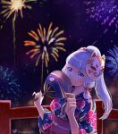 1girl absurdres bangs blunt_bangs blurry bow commentary_request depth_of_field eyebrows_visible_through_hair fireworks genshin_impact grey_eyes hair_bow hair_ribbon hand_fan head_tilt highres holding holding_fan japanese_clothes kamisato_ayaka kimono lenpinky long_hair looking_at_viewer mask mask_on_head mole mole_under_eye night night_sky obi parted_lips ribbon sash shade sidelocks silver_hair sky smile solo star_(sky) starry_sky tress_ribbon twitter_username yukata