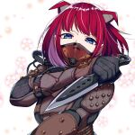 1girl airship_assassin_wraith apex_legends appear blue_eyes breasts brown_bodysuit colored_inner_hair cosplay flower hiichigo_shure holding holding_knife knife kunai looking_at_viewer mashiro_(rikuya) mask mechanical_wings medium_breasts mouth_mask multicolored_hair portrait purple_hair redhead second-party_source solo twitter_username virtual_youtuber watermark weapon white_background wings wraith_(apex_legends) wraith_(apex_legends)_(cosplay)
