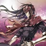 1boy belt black_hair cloak final_fantasy final_fantasy_vii frown gauntlets headband long_hair looking_to_the_side red_eyes shuri_yasuyuki sleeves_rolled_up torn_clothes vincent_valentine wind