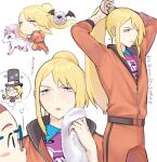 1boy adjusting_hair avery_(pokemon) bangs blonde_hair blush blush_stickers closed_mouth collared_shirt commentary_request floating_hair galarian_form galarian_ponyta gen_5_pokemon gen_8_pokemon hair_tie highres holding holding_towel jacket long_hair male_focus multiple_views orange_jacket orange_pants pants pokemon pokemon_(creature) pokemon_(game) pokemon_swsh ponytail purple_shirt running shirt sidelocks staring sweat thought_bubble towel translation_request tudurimike white_background woobat zipper_pull_tab