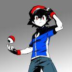 1boy ash_ketchum bangs baseball_cap black_gloves black_hair blue_jacket closed_mouth commentary_request dododo_dadada fingerless_gloves frown gloves gradient gradient_background hand_on_headwear hat jacket male_focus pants poke_ball poke_ball_(basic) pokemon pokemon_(anime) pokemon_xy_(anime) red_eyes red_headwear short_hair short_sleeves solo