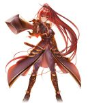 1girl bangs black_footwear boots breasts closed_mouth faulds floating_hair full_body game_cg grey_pants hair_between_eyes hair_ornament hairpin high_ponytail holding holding_sheath holding_sword holding_weapon knee_boots large_breasts long_hair looking_at_viewer official_art pants red_eyes redhead sheath solo standing sword tokimeki_general_girls_x transparent_background unsheathed very_long_hair weapon zhou_tai_(tokimeki_general_girls_x)