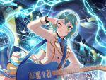 bang_dream! blush dress green_eyes green_hair hikawa_hina short_hair smile