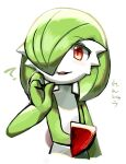 1girl :3 ? bangs blush blush_stickers bob_cut colored_skin commentary eyebrows_visible_through_hair flat_chest gardevoir gen_3_pokemon green_hair green_skin hair_over_one_eye hand_up happy lotosu multicolored multicolored_skin open_mouth pokemon pokemon_(creature) red_eyes shiny shiny_hair short_hair simple_background sketch smile solo talking translation_request two-tone_skin upper_body white_background white_skin