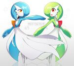2girls alternate_color arm_up bangs birthday black_choker blue_hair blue_skin blush blush_stickers bob_cut choker closed_mouth colored_skin commentary dated english_text eye_contact eyebrows_visible_through_hair flat_chest full_body gardevoir gen_3_pokemon green_hair green_skin grey_background hair_over_one_eye half-closed_eyes happy happy_birthday lace lace_choker looking_at_another lotosu mega_stone multicolored multicolored_skin multiple_girls open_mouth orange_eyes outstretched_arm pokemon pokemon_(creature) red_eyes reflection shiny shiny_hair shiny_pokemon short_hair siblings simple_background smile sparkle standing symmetry twins two-tone_skin white_choker white_skin