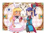 1boy 1girl animal_ears apron arm_up ash_ketchum bangs black_eyes blonde_hair blue_eyes blush clock closed_mouth commentary_request crossdressing dawn_(pokemon) dododo_dadada dress eye_contact eyelashes fake_animal_ears frills gloves hairband hat heart holding holding_clothes holding_hands holding_hat long_hair looking_at_another pink_dress pokemon pokemon_(anime) pokemon_dppt_(anime) rabbit_ears red_headwear shiny shiny_hair shirt short_sleeves shorts smile spoken_squiggle squiggle vest white_apron white_gloves white_hairband white_shirt