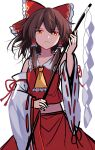 1girl bangs bare_shoulders bow brown_hair closed_mouth collar detached_sleeves e.o. eyebrows_visible_through_hair eyes_visible_through_hair gohei hair_between_eyes hair_tubes hakurei_reimu hands_up highres light long_sleeves looking_at_viewer orange_eyes red_bow red_shirt red_skirt shadow shirt short_hair simple_background sketch skirt solo touhou white_background white_sleeves yellow_neckwear