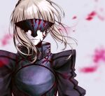 1girl armor artoria_pendragon_(all) bangs blurry blurry_background facing_viewer fate/stay_night fate_(series) floating_hair grey_background highres medium_hair no_mae_(mikakatachi) parted_lips saber_alter silver_hair solo upper_body