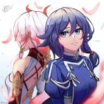 2girls absurdres back bangs bare_shoulders black_hair blue_eyes blue_jacket china_dress chinese_clothes cruzvu dress dual_persona elbow_gloves feathers fu_hua fu_hua_(phoenix) fu_hua_(valkyrie_accipter) gloves hair_between_eyes hair_ornament highres honkai_(series) honkai_impact_3rd huge_filesize jacket long_hair long_sleeves looking_to_the_side multicolored_hair multiple_girls ponytail red_gloves simple_background sleeveless smile streaked_hair teeth white_background white_dress white_hair