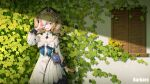 1girl :d bangs barbara_(genshin_impact) blue_eyes book commentary_request covering_one_eye cross detached_sleeves dress drill_hair eyebrows_visible_through_hair genshin_impact hair_between_eyes highres holding light_brown_hair long_hair long_sleeves looking_at_viewer nun open_mouth plant primogem shade sidelocks sin. smile solo twin_drills twintails vines vision_(genshin_impact) wall white_dress window