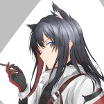1girl animal_ears arknights bangs black_hair brown_eyes closed_mouth commentary_request extra_ears food from_side fur_trim gloves grey_background hair_between_eyes hand_up highres holding holding_food hood hood_down hooded_jacket jacket long_hair long_sleeves looking_at_viewer looking_to_the_side official_alternate_costume open_clothes open_jacket pocky red_gloves shoulder_strap shuuka sidelocks sideways_glance solo texas_(arknights) texas_(winter_messenger)_(arknights) two-tone_background upper_body white_background white_jacket wolf_ears wrist_cuffs