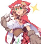 1girl :d amane_hasuhito braid breasts brown_hair cape eyebrows_visible_through_hair fang gloves green_eyes large_breasts looking_at_viewer nijisanji open_mouth paw_gloves paws plaid plaid_skirt red_cape red_hood red_skirt simple_background skin_fang skirt smile solo twin_braids virtual_youtuber warabeda_meijii white_background