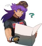 1boy ? bangs baseball_cap brown_headwear champion_uniform closed_mouth commentary_request dark-skinned_male dark_skin dynamax_band eyebrows_visible_through_hair facial_hair gloves hat head_tilt highres holding holding_paper leon_(pokemon) long_hair male_focus morio_(poke_orio) paper partially_fingerless_gloves pokemon pokemon_(game) pokemon_swsh purple_hair shield_print shirt short_sleeves simple_background single_glove smile sword_print upper_body white_background yellow_eyes