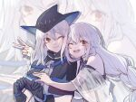 2girls ;) ;d arknights bare_shoulders black_capelet black_gloves black_headwear capelet chinese_commentary commentary_request eyebrows_visible_through_hair gloves grey_shirt hair_between_eyes hat highres hug hug_from_behind long_hair long_sleeves looking_at_viewer multiple_girls nazhiji necktie one_eye_closed open_mouth red_eyes scarf see-through shirt silver_hair skadi_(arknights) smile specter_(arknights) upper_body v white_scarf zoom_layer