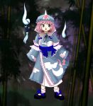 1girl bangs blue_bow blue_footwear blue_headwear blue_kimono blurry blurry_background bow cloud_print footwear_bow forest full_body hat hitodama japanese_clothes kimono long_sleeves looking_at_viewer mob_cap nature official_style open_mouth otohime_tw outdoors pink_eyes pink_hair saigyouji_yuyuko short_hair solo standing touhou triangular_headpiece white_legwear wide_sleeves zun_(style)