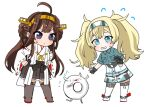 2girls ahoge bangs blonde_hair blue_eyes breast_pocket brown_hair chibi closed_mouth detached_sleeves double_bun enemy_lifebuoy_(kancolle) flying_sweatdrops gambier_bay_(kancolle) hairband hands_on_hips headgear kantai_collection kongou_(kancolle) long_hair machi_(ritovoyage) multiple_girls nontraditional_miko open_mouth pleated_skirt pocket ribbon-trimmed_sleeves ribbon_trim shorts simple_background skirt standing sweat thigh-highs twintails violet_eyes white_background wide_sleeves