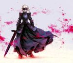 1girl armor armored_boots armored_dress artoria_pendragon_(all) black_dress blurry blurry_background boots braid dress excalibur_morgan_(fate) facing_viewer fate/stay_night fate_(series) floating_hair full_body gauntlets grey_background high_heel_boots high_heels highres holding holding_sword holding_weapon medium_hair no_mae_(mikakatachi) parted_lips saber_alter silver_hair solo standing sword weapon