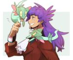 1boy bangs cravat dark-skinned_male dark_skin dreepy dynamax_band eyebrows_visible_through_hair facial_hair from_side gen_8_pokemon grin hand_up highres leon_(pokemon) long_hair male_focus morio_(poke_orio) pokemon pokemon_(creature) pokemon_(game) pokemon_swsh purple_hair smile tailcoat teeth upper_body white_neckwear yellow_eyes