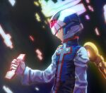 1boy alternate_eye_color android arm_at_side blue_eyes blue_robe closed_mouth commentary_request cross_print from_side glowing halo helmet holding hoshi_mikan long_sleeves male_focus mega_man_(series) mega_man_x_(character) mega_man_zero robe serious solo upper_body