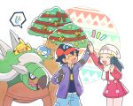 1boy 1girl arm_up ash_ketchum bangs baseball_cap beanie black_hair blue_pants blush christmas coat commentary_request dawn_(pokemon) dododo_dadada eyelashes fingerless_gloves gen_1_pokemon gen_4_pokemon gloves hair_ornament hairclip hat high_five jacket long_hair long_sleeves lying notice_lines on_stomach open_clothes open_jacket open_mouth pants pikachu piplup pokemon pokemon_(anime) pokemon_(creature) pokemon_dppt_(anime) red_coat red_headwear scarf short_hair smile sweatdrop tongue torterra tree white_headwear white_scarf winter_clothes |d