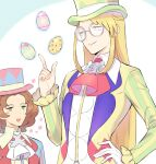 2boys :d alternate_color avery_(pokemon) bangs blonde_hair blue_eyes blush_stickers brown_hair burgh_(pokemon) burgh_(pokemon)_(cosplay) closed_mouth collared_shirt cosplay egg floating floating_object glasses gloves green_eyes green_headwear hand_on_hip hand_up hat highres index_finger_raised long_hair long_sleeves male_focus multiple_boys official_alternate_costume open_mouth parted_bangs pink_headwear pokemon pokemon_(game) pokemon_masters_ex pokemon_swsh red_neckwear round_eyewear shirt single_glove smile tailcoat telekinesis top_hat tudurimike upper_teeth white_gloves white_neckwear yellow_shirt