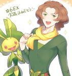 1boy :d alternate_color bangs belt belt_buckle blush brown_hair buckle burgh_(pokemon) commentary_request gen_5_pokemon green_eyes green_shirt hand_up highres leavanny looking_at_viewer male_focus medium_hair open_mouth parted_bangs pokemon pokemon_(creature) pokemon_(game) pokemon_masters_ex scarf shirt smile sparkle tongue translation_request tudurimike upper_teeth v-neck yellow_scarf