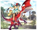 1girl bangs blue_dress blue_hair braid breasts cat character_request claws dinosaur dress eyebrows_visible_through_hair flower full_body green_eyes hair_flower hair_ornament hibiscus highres holding holding_sword holding_weapon jumping monster monster_hunter_(series) monster_hunter_stories_2 nyoro_(nyoronyoro000) open_mouth red_flower riding scales sharp_teeth short_dress slit_pupils small_breasts sword teeth twin_braids v-shaped_eyebrows weapon weapon_on_back