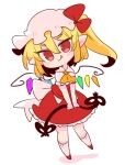 1girl ascot blonde_hair bow crystal fang flandre_scarlet frilled_shirt frilled_shirt_collar frilled_skirt frilled_sleeves frills hat hat_ribbon highres laevatein medium_hair mob_cap one_side_up op_na_yarou puffy_short_sleeves puffy_sleeves red_bow red_eyes red_ribbon red_skirt red_vest ribbon shirt short_hair short_sleeves side_ponytail simple_background skirt skirt_set smile touhou vest white_background white_shirt wings yellow_neckwear