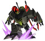 1boy absurdres aircraft arm_cannon blackout decepticon gun helicopter highres jeetdoh mecha military red_eyes shockwave stomping transformers transformers_animated turret weapon