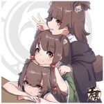 3girls animal_ear_fluff animal_ears bangs bare_arms bare_shoulders brown_eyes brown_hair collared_shirt commentary_request eyebrows_visible_through_hair green_kimono grin hand_up highres japanese_clothes kimono kuro_kosyou long_hair long_sleeves looking_at_viewer multiple_girls original shirt short_eyebrows sleeveless smile stacking tail thick_eyebrows v white_shirt wide_sleeves