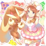 1girl animal_ears bangs blush brown_hair bunny_pose closed_mouth commentary_request dress eyebrows_visible_through_hair eyelashes fake_animal_ears gen_4_pokemon grey_eyes hairband highres looking_at_viewer lopunny may_(pokemon) official_alternate_costume outline pantyhose pink_dress pink_footwear pokemon pokemon_(creature) pokemon_(game) pokemon_masters_ex rabbit_ears shoes short_sleeves smile tudurimike wrist_cuffs yellow_hairband yellow_legwear