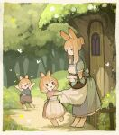 >_< 1boy 2girls :d =_= absurdres animal_ears apron apron_tug bangs barefoot basket blonde_hair blush brown_eyes bug butterfly dress eighth_note eyebrows_visible_through_hair full_body highres huge_filesize insect looking_at_viewer mother_and_daughter mother_and_son multiple_girls musical_note open_mouth original outdoors rabbit rabbit_boy rabbit_ears rabbit_girl rabbit_tail sakutake_(ue3sayu) short_ponytail sidelocks smile tail tree xd