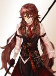 1girl arm_belt bangs black_gloves breasts brown_hair closed_mouth collared_shirt commentary flower-shaped_pupils genshin_impact gloves highres holding holding_polearm holding_weapon hu_tao_(genshin_impact) long_hair long_pants long_sleeves looking_to_the_side nugag pants polearm red_eyes red_neckwear shirt simple_background smile solo symbol-shaped_pupils symbol_commentary twintails vest weapon white_background white_shirt