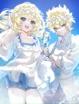 1boy 1girl bangs blonde_hair blue_eyes blush breasts brother_and_sister castor_(fate) fate/grand_order fate_(series) galibo heroic_spirit_tour_outfit highres long_sleeves looking_at_viewer medium_breasts medium_hair open_mouth pollux_(fate) short_hair siblings smile twins