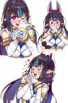 1girl absurdres animal_ears aura black_hair blush breasts earrings fox_mask hair_ornament happy_tears heart highres japanese_clothes jewelry kasandra_(xenoblade) large_breasts long_hair looking_at_viewer mask negresco one_eye_closed open_mouth pointy_ears proposal red_eyes ring ring_box simple_background smile solo tears wedding_ring white_background xenoblade_chronicles_(series) xenoblade_chronicles_2
