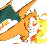 blurry breathing_fire charizard claws fangs fire flame gen_1_pokemon looking_to_the_side morio_(poke_orio) no_humans open_mouth pokemon pokemon_(creature) simple_background solo tongue white_background