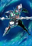 1990s_(style) 1boy d-boy double-blade full_body glowing glowing_eyes green_eyes holding holding_lance holding_polearm holding_weapon lance looking_at_viewer mecha polearm power_armor retro_artstyle science_fiction solo space sword tekkaman_blade tukiwani weapon