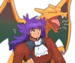 1boy bangs bright_pupils charizard closed_eyes closed_mouth commentary cravat dark-skinned_male dark_skin eyebrows_visible_through_hair facial_hair fangs gen_1_pokemon highres leon_(pokemon) long_hair male_focus morio_(poke_orio) notice_lines open_mouth pokemon pokemon_(creature) pokemon_(game) pokemon_swsh purple_hair sketch tailcoat tearing_up tongue white_background white_neckwear white_pupils yawning yellow_eyes