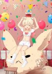 1girl :d absurdres ahoge alternate_costume arms_up balloon bangs birthday_cake bloomers blurry blush box cake casual character_name collarbone commentary_request confetti dated depth_of_field dodoco_(genshin_impact) english_commentary eyebrows_visible_through_hair food full_body genshin_impact gift gift_box hair_between_eyes happy_birthday highres holding holding_plate jumpy_dumpty klee_(genshin_impact) lifting light_brown_hair long_hair looking_at_viewer low_twintails midriff mixed-language_commentary navel open_mouth oversized_object plate pointy_ears riding sidelocks sitting smile solo stool stuffed_animal stuffed_toy twintails underwear white_legwear zen_(user_hwzv3542)