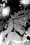 1girl abyssal_ship bangs breasts bubble glowing glowing_eyes greyscale hair_between_eyes headgear highres kantai_collection machi_(ritovoyage) medium_breasts monochrome parted_lips short_hair_with_long_locks solo tentacles twitter_username underwater upper_body water wo-class_aircraft_carrier