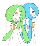 2girls alternate_color back back-to-back bangs blue_hair blue_skin blush bob_cut collar colored_skin commentary eye_contact eyebrows_visible_through_hair flat_chest floral_background from_behind gardevoir gen_3_pokemon green_hair green_skin grin hair_over_one_eye halftone happy holding_hands interlocked_fingers light_blush looking_at_another looking_back lotosu lowres mega_stone multicolored multicolored_skin multiple_girls open_mouth orange_eyes pokemon pokemon_(creature) shiny_pokemon short_hair sideways_mouth simple_background sketch smile standing teeth two-tone_skin white_background white_skin yuri