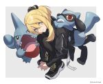 1girl asymmetrical_hair bangs black_footwear black_jacket black_legwear blonde_hair closed_mouth cynthia_(pokemon) fingers_together from_above gen_4_pokemon gible grey_eyes hair_ornament hands_together highres jacket looking_at_viewer looking_up pantyhose pokemon pokemon_(creature) pokemon_(game) pokemon_dppt riolu shoes smile sneakers squatting xia_(ryugo) younger