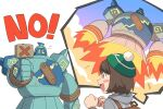 1girl :d backpack bag blush_stickers bob_cut brown_bag brown_eyes brown_hair cardigan clenched_hands commentary_request dododo_dadada eyelashes fire fly_(pokemon) gen_5_pokemon gloria_(pokemon) golurk green_headwear grey_cardigan hands_up hat holding_paddle hooded_cardigan open_mouth pokemon pokemon_(creature) pokemon_(game) pokemon_swsh short_hair smile tam_o'_shanter thought_bubble tongue white_background