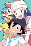 1boy 1girl :d ash_ketchum bangs beanie black_eyes black_hair blue_eyes blush clothed_pokemon commentary_request dawn_(pokemon) dododo_dadada eyelashes gen_1_pokemon gen_4_pokemon green_background grin hat highres long_hair looking_at_viewer open_mouth pikachu piplup pokemon pokemon_(anime) pokemon_(creature) pokemon_dppt_(anime) sailor_collar shirt short_hair short_sleeves skirt smile starter_pokemon teeth tongue white_headwear white_shirt