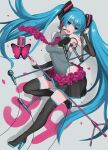 1girl 39 absurdres aqua_eyes aqua_hair aqua_nails bare_shoulders black_legwear black_skirt black_sleeves boots bug butterfly commentary contrapposto detached_sleeves flower flower_neckwear full_body grey_background grey_shirt hair_ornament hand_up hatsune_miku headphones headset high_heels highres holding holding_microphone_stand insect leg_up long_hair looking_at_viewer microphone microphone_stand miniskirt nail_polish necktie nishikino_kee open_mouth petals pink_butterfly pink_flower pink_rose pleated_skirt pop_filter rose shadow shirt shoulder_tattoo skirt sleeveless sleeveless_shirt smile solo tattoo thigh-highs thigh_boots twintails very_long_hair vocaloid waist_cutout zettai_ryouiki