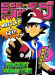 1boy ash_ketchum bangs baseball_cap black_gloves blue_hair blue_jacket closed_mouth commentary_request copyright_name cover dododo_dadada fake_cover fingerless_gloves gloves hair_between_eyes hat holding holding_poke_ball jacket looking_at_viewer male_focus poke_ball poke_ball_(basic) pokemon pokemon_(anime) pokemon_xy_(anime) red_eyes red_headwear short_hair shounen_jump smile solo spiky_hair