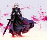 1girl armor armored_boots armored_dress artoria_pendragon_(all) black_dress blurry blurry_background boots braid closed_mouth dress excalibur_morgan_(fate) fate/stay_night fate_(series) floating_hair frown full_body gauntlets grey_background hair_between_eyes high_heel_boots high_heels highres holding holding_sword holding_weapon long_dress looking_at_viewer medium_hair no_mae_(mikakatachi) saber_alter silver_hair solo standing sword weapon yellow_eyes